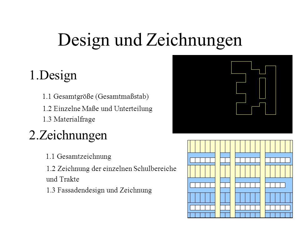 Design und Zeichnungen 1.Design 1.1 Gesamtgröße (Gesamtmaßstab) 1.2 Einzelne Maße und Unterteilung 1.3 Materialfrage 2.Zeichnungen 1.1 Gesamtzeichnung 1.2 Zeichnung der einzelnen Schulbereiche und Trakte 1.3 Fassadendesign und Zeichnung