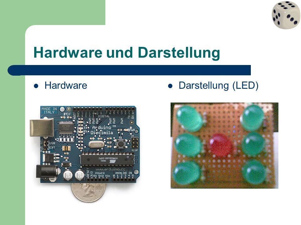 Hardware: Programmierung 1 /* * Würfelprogramm * 4 AHETE int ledOR = 8; // LED oben rechts int ledR = 4; // LED rechts int ledUR = 2; // LED unten rechts int ledM = 5; // LED mitte int ledUL = 3; // LED unten links int ledL = 7; // LED links int ledOL = 10; // LED oben links int inputPin = 12; // Pin für den Buttoneingang int val = 0; // Variable, die den Pinstatus speichert int zahl = 1; // speichert die zufällige Zahl