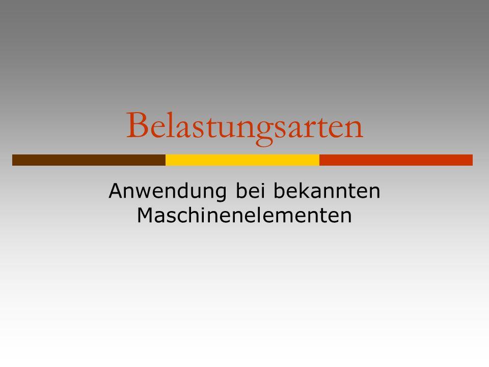 Belastungsarten Wälzlager Achsen und Wellen Biegung von unsymmetrischen Querschnitten Toleranzen und Passungen Bolzenverbindungen