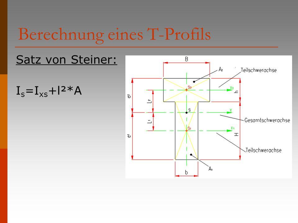 Berechnung eines T-Profils Satz von Steiner: I s =I xs +l²*A