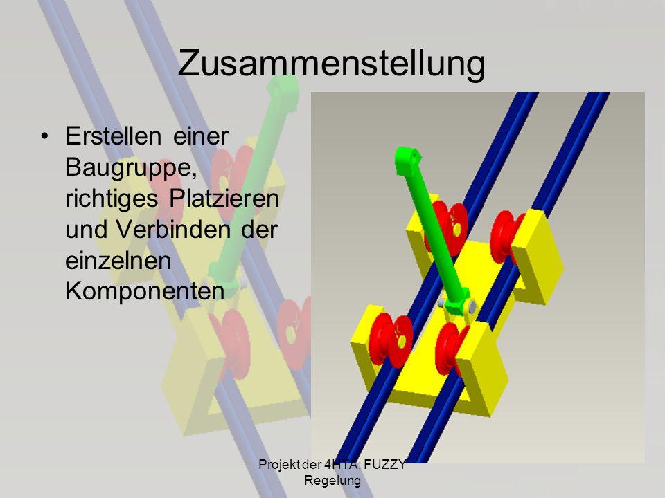 Zusammenstellung Erstellen einer Baugruppe, richtiges Platzieren und Verbinden der einzelnen Komponenten Projekt der 4HTA: FUZZY Regelung