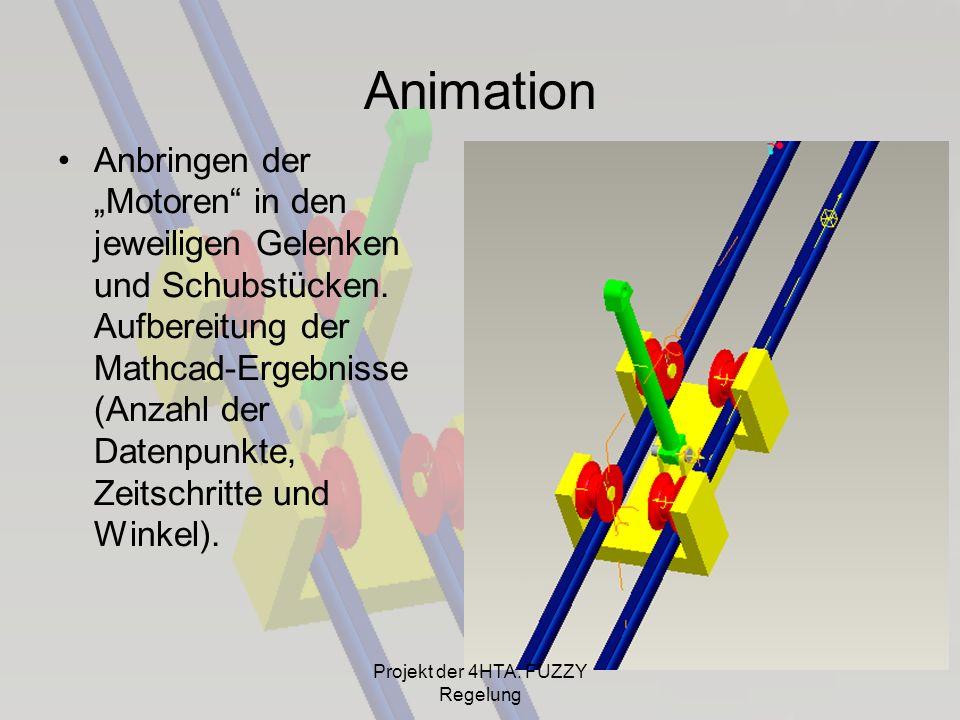 Animation Anbringen der Motoren in den jeweiligen Gelenken und Schubstücken. Aufbereitung der Mathcad-Ergebnisse (Anzahl der Datenpunkte, Zeitschritte
