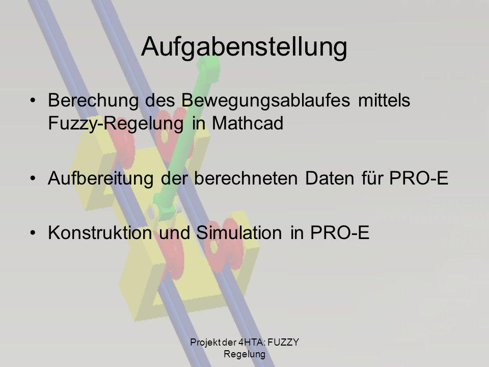 Aufgabenstellung Berechung des Bewegungsablaufes mittels Fuzzy-Regelung in Mathcad Aufbereitung der berechneten Daten für PRO-E Konstruktion und Simul