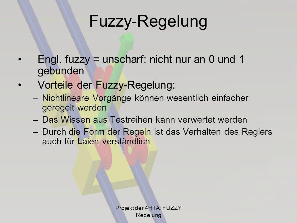 Fuzzy-Regelung Engl. fuzzy = unscharf: nicht nur an 0 und 1 gebunden Vorteile der Fuzzy-Regelung: –Nichtlineare Vorgänge können wesentlich einfacher g