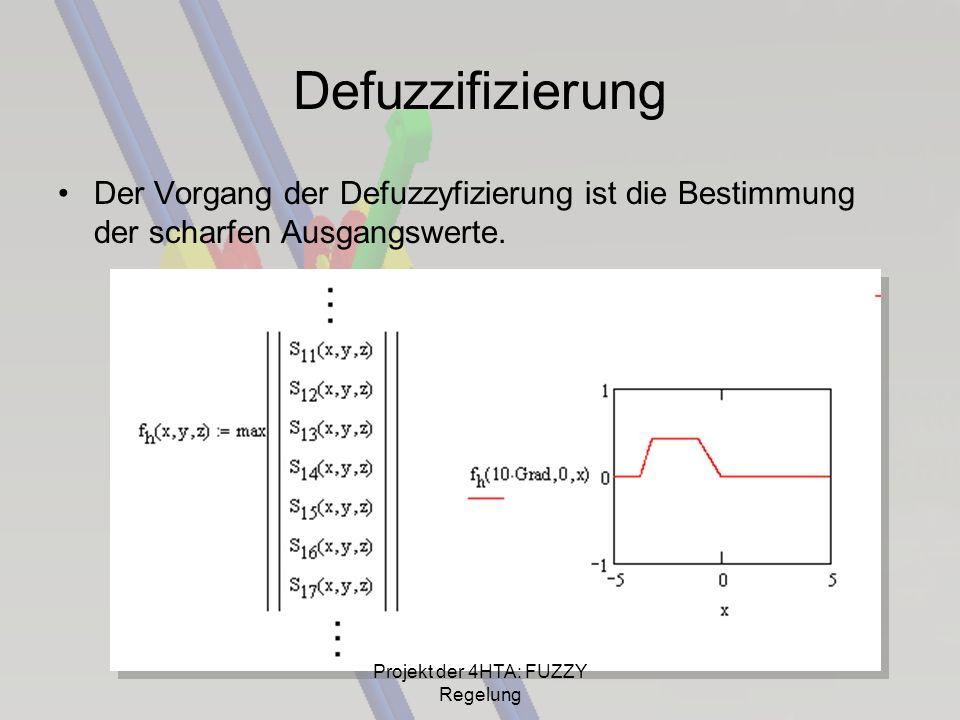 Defuzzifizierung Der Vorgang der Defuzzyfizierung ist die Bestimmung der scharfen Ausgangswerte. Projekt der 4HTA: FUZZY Regelung