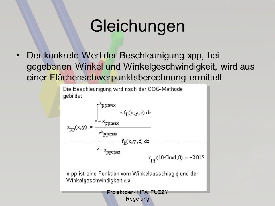 Gleichungen Der konkrete Wert der Beschleunigung xpp, bei gegebenen Winkel und Winkelgeschwindigkeit, wird aus einer Flächenschwerpunktsberechnung erm