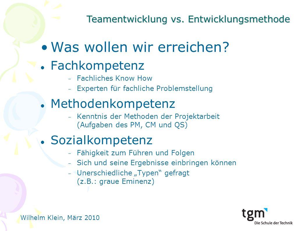 Teamentwicklung vs.Entwicklungsmethode Wilhelm Klein, März 2010 Was wollen wir erreichen.