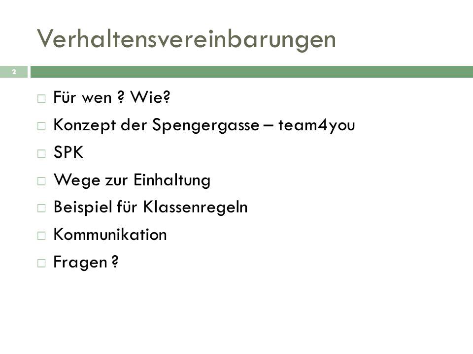 Verhaltensvereinbarungen 2 Für wen ? Wie? Konzept der Spengergasse – team4you SPK Wege zur Einhaltung Beispiel für Klassenregeln Kommunikation Fragen