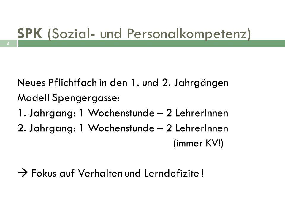 SPK (Sozial- und Personalkompetenz) 5 Neues Pflichtfach in den 1. und 2. Jahrgängen Modell Spengergasse: 1. Jahrgang: 1 Wochenstunde – 2 LehrerInnen 2