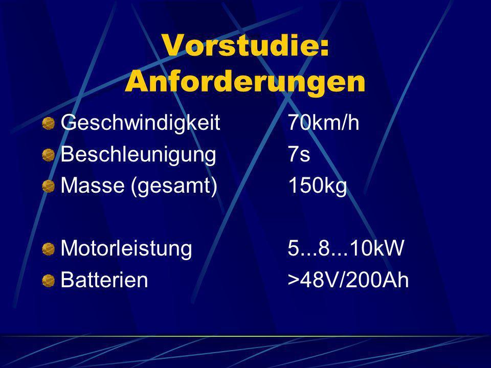 Vorstudie: Anforderungen Geschwindigkeit70km/h Beschleunigung7s Masse (gesamt)150kg Motorleistung5...8...10kW Batterien>48V/200Ah