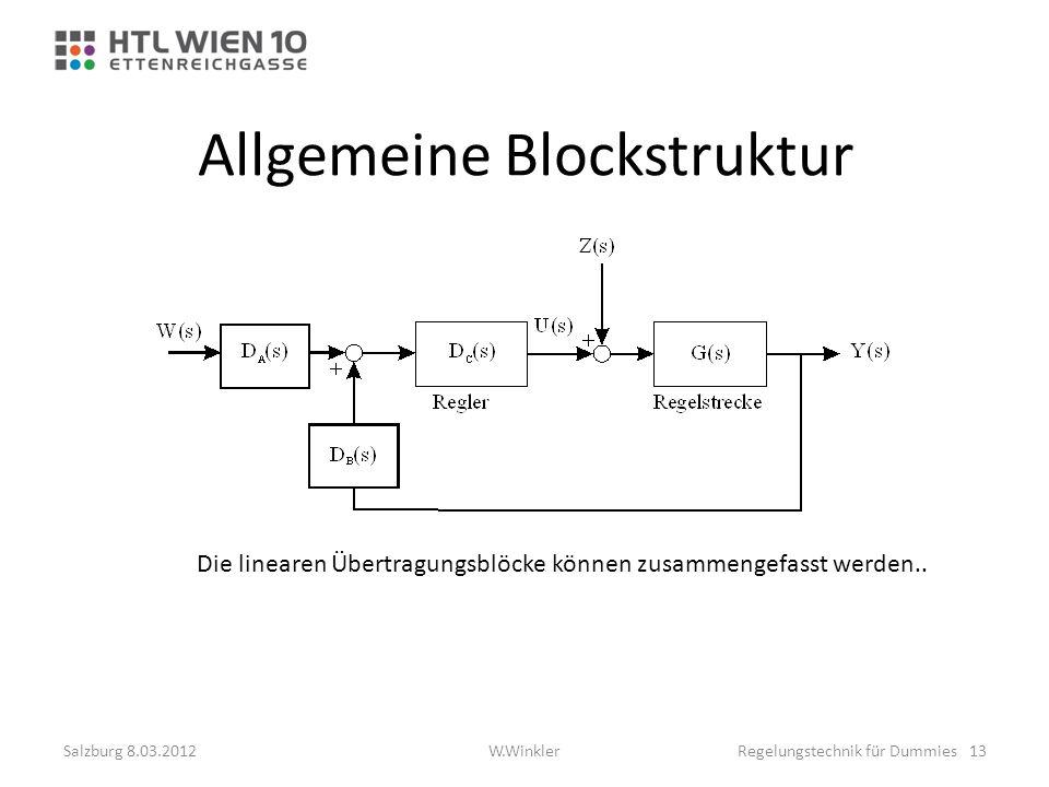 Allgemeine Blockstruktur Die linearen Übertragungsblöcke können zusammengefasst werden.. Salzburg 8.03.2012Regelungstechnik für Dummies 13W.Winkler