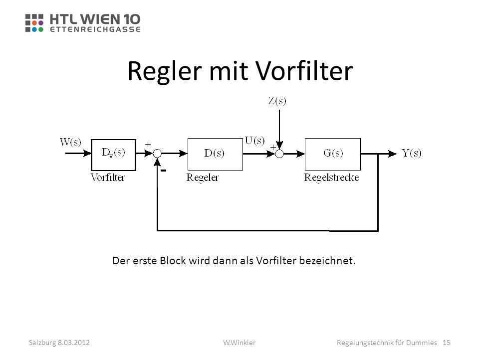 Regler mit Vorfilter Der erste Block wird dann als Vorfilter bezeichnet. Salzburg 8.03.2012Regelungstechnik für Dummies 15W.Winkler
