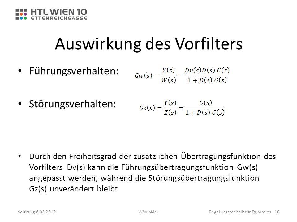 Auswirkung des Vorfilters Führungsverhalten: Störungsverhalten: Durch den Freiheitsgrad der zusätzlichen Übertragungsfunktion des Vorfilters Dv(s) kan