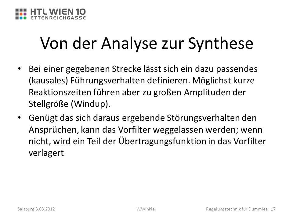 Von der Analyse zur Synthese Bei einer gegebenen Strecke lässt sich ein dazu passendes (kausales) Führungsverhalten definieren. Möglichst kurze Reakti