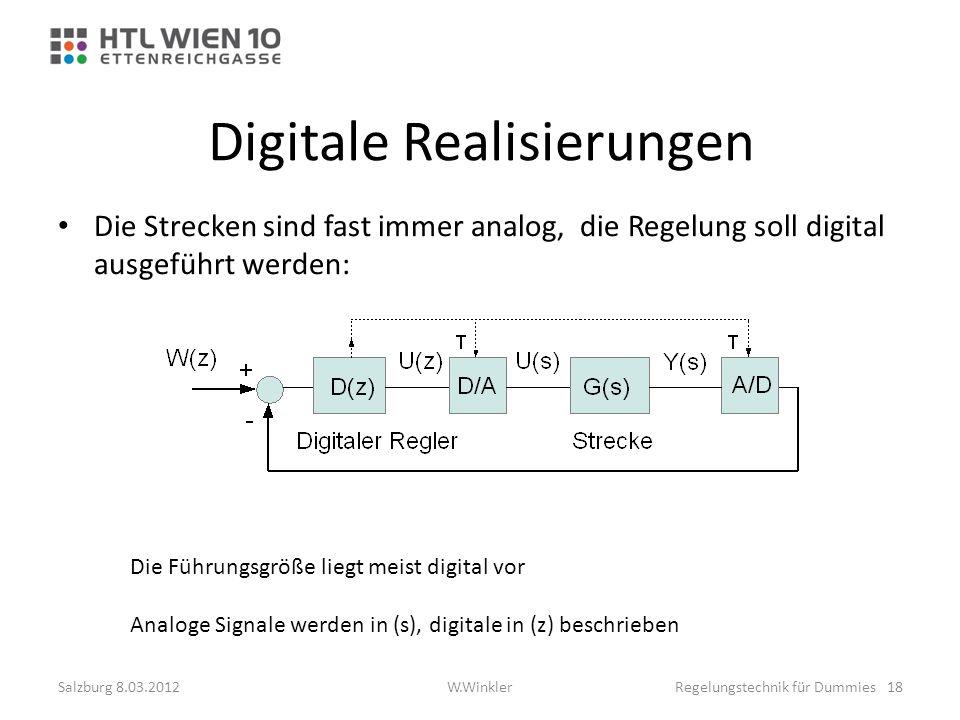Digitale Realisierungen Die Strecken sind fast immer analog, die Regelung soll digital ausgeführt werden: Die Führungsgröße liegt meist digital vor An