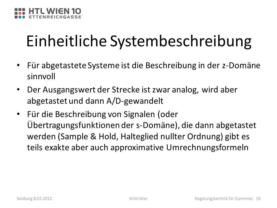 Einheitliche Systembeschreibung Für abgetastete Systeme ist die Beschreibung in der z-Domäne sinnvoll Der Ausgangswert der Strecke ist zwar analog, wi