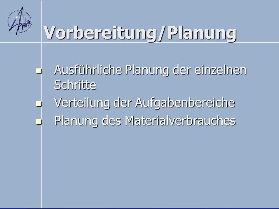 Vorbereitung/Planung Ausführliche Planung der einzelnen Schritte Ausführliche Planung der einzelnen Schritte Verteilung der Aufgabenbereiche Verteilun