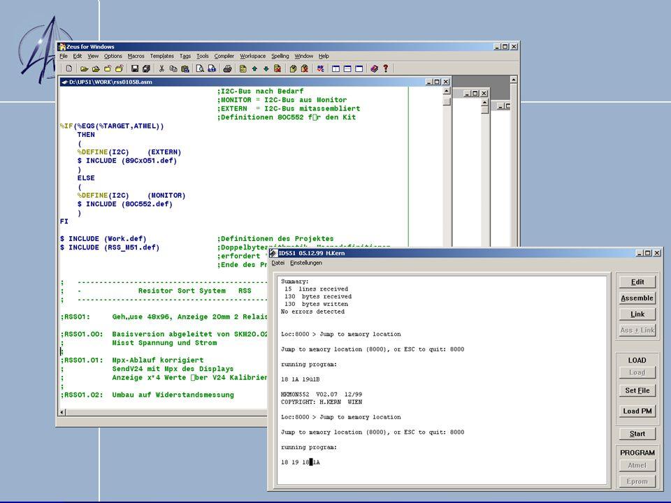 Kombination der Komponenten Assemblerprogrammierung mit Mikroprozessorkit (Testplatinen Widerstand) Assemblerprogrammierung mit Mikroprozessorkit (Testplatinen Widerstand) Anzeigemodul Anzeigemodul Graphische Anzeige am PC (Delphi) Graphische Anzeige am PC (Delphi) Hardware (Prototyp, Versorgung, etc.) Hardware (Prototyp, Versorgung, etc.)