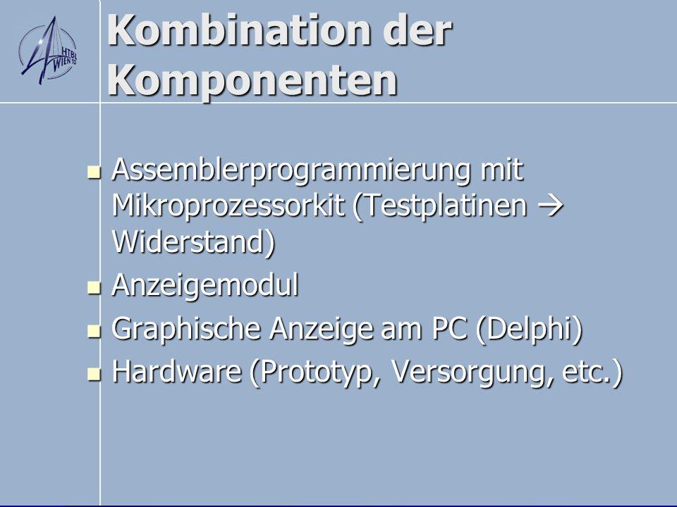 Kombination der Komponenten Assemblerprogrammierung mit Mikroprozessorkit (Testplatinen Widerstand) Assemblerprogrammierung mit Mikroprozessorkit (Tes