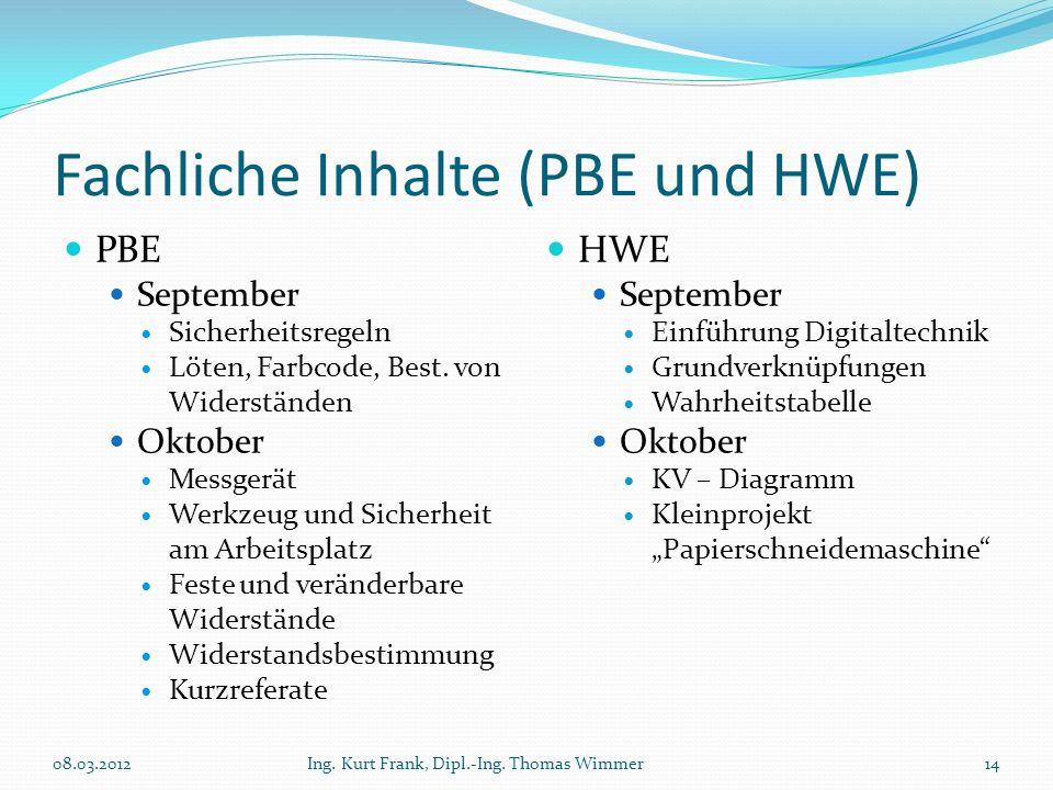 Fachliche Inhalte (PBE und HWE) PBE September Sicherheitsregeln Löten, Farbcode, Best. von Widerständen Oktober Messgerät Werkzeug und Sicherheit am A