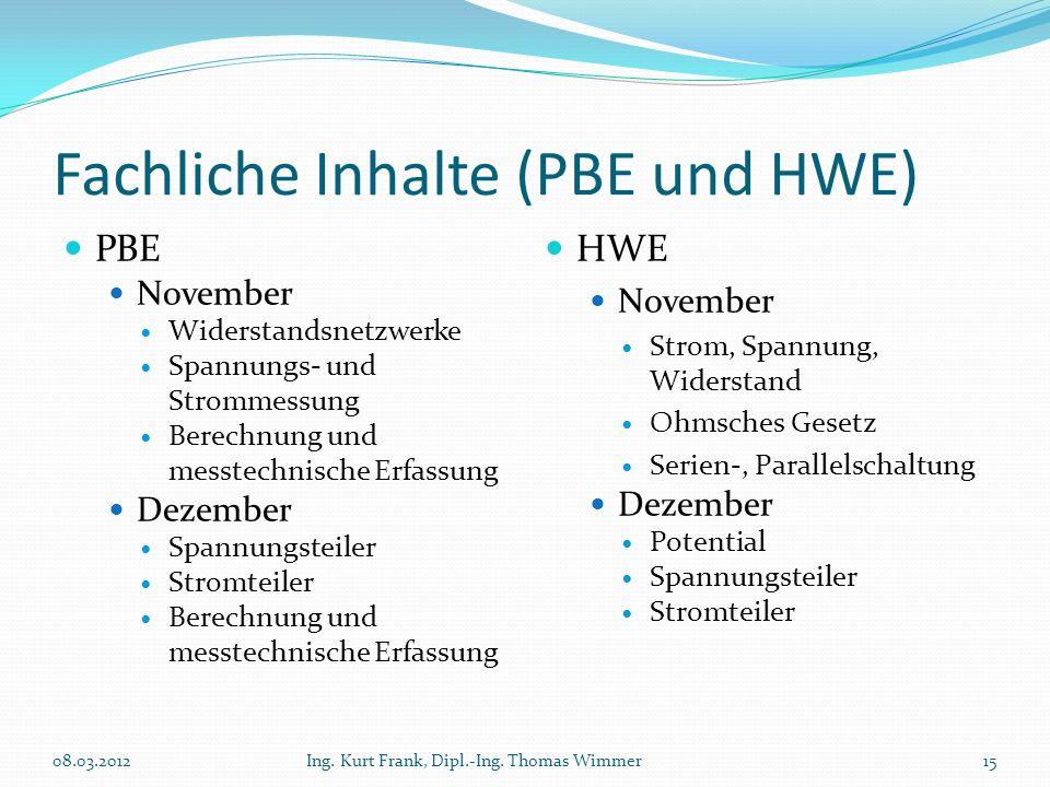 Fachliche Inhalte (PBE und HWE) PBE November Widerstandsnetzwerke Spannungs- und Strommessung Berechnung und messtechnische Erfassung Dezember Spannun