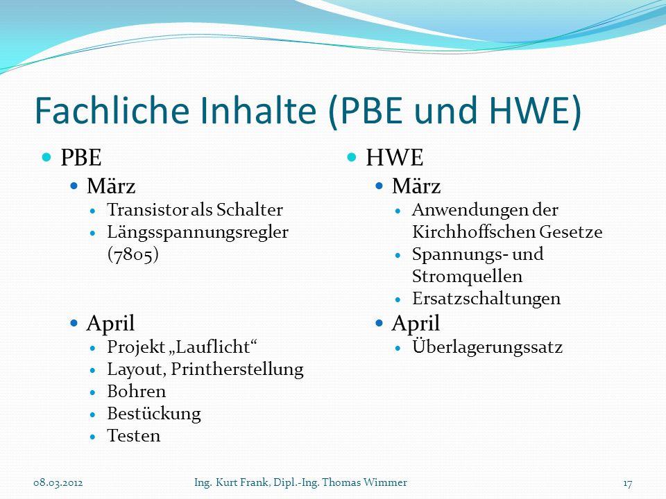 Fachliche Inhalte (PBE und HWE) PBE März Transistor als Schalter Längsspannungsregler (7805) April Projekt Lauflicht Layout, Printherstellung Bohren B