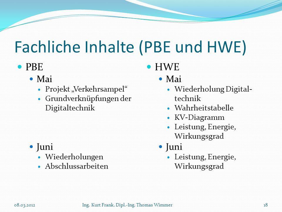 Fachliche Inhalte (PBE und HWE) PBE Mai Projekt Verkehrsampel Grundverknüpfungen der Digitaltechnik Juni Wiederholungen Abschlussarbeiten HWE Mai Wied
