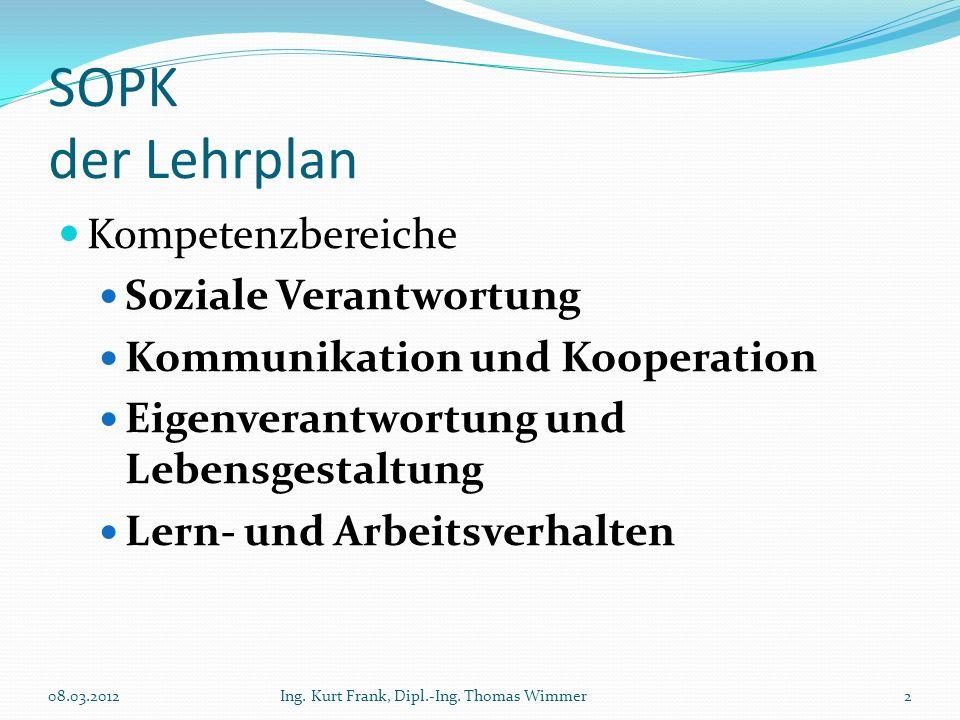SOPK der Lehrplan Kompetenzbereiche Soziale Verantwortung Kommunikation und Kooperation Eigenverantwortung und Lebensgestaltung Lern- und Arbeitsverha