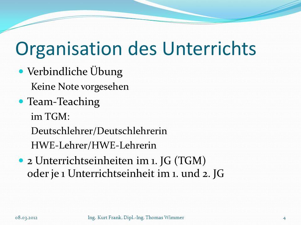 Organisation des Unterrichts Verbindliche Übung Keine Note vorgesehen Team-Teaching im TGM: Deutschlehrer/Deutschlehrerin HWE-Lehrer/HWE-Lehrerin 2 Un
