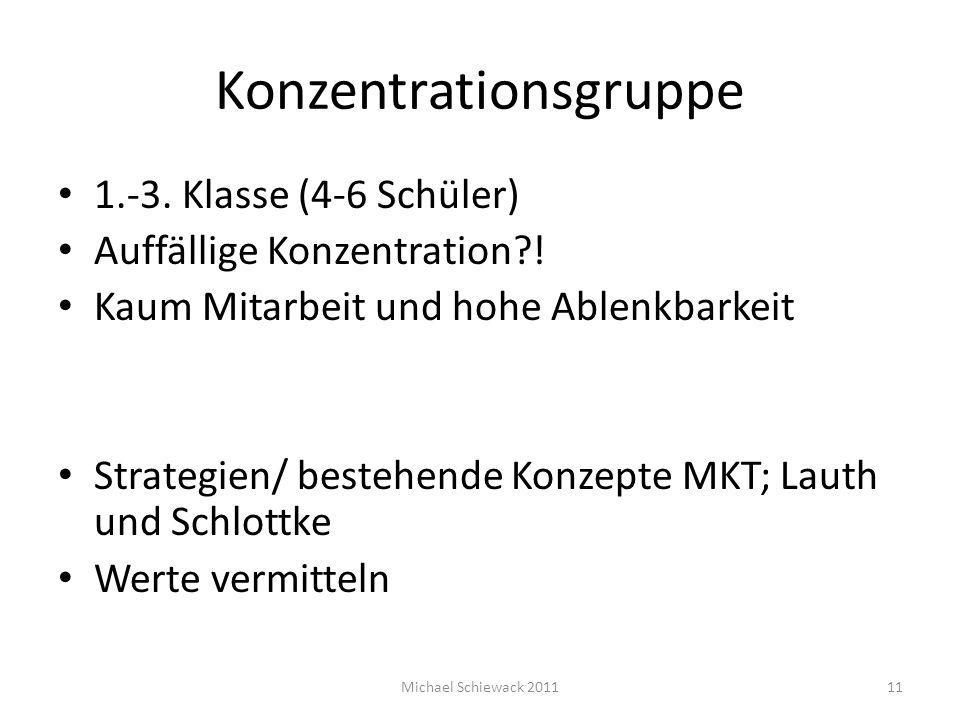 Konzentrationsgruppe 1.-3. Klasse (4-6 Schüler) Auffällige Konzentration?! Kaum Mitarbeit und hohe Ablenkbarkeit Strategien/ bestehende Konzepte MKT;