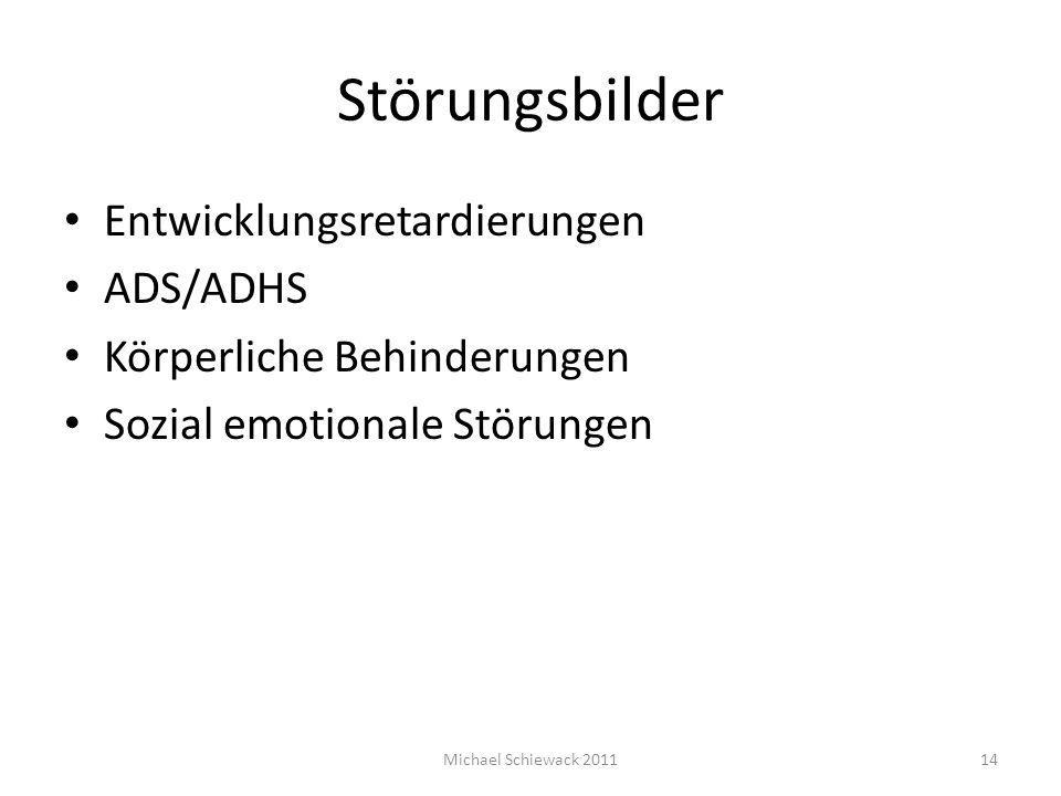 Störungsbilder Entwicklungsretardierungen ADS/ADHS Körperliche Behinderungen Sozial emotionale Störungen Michael Schiewack 201114