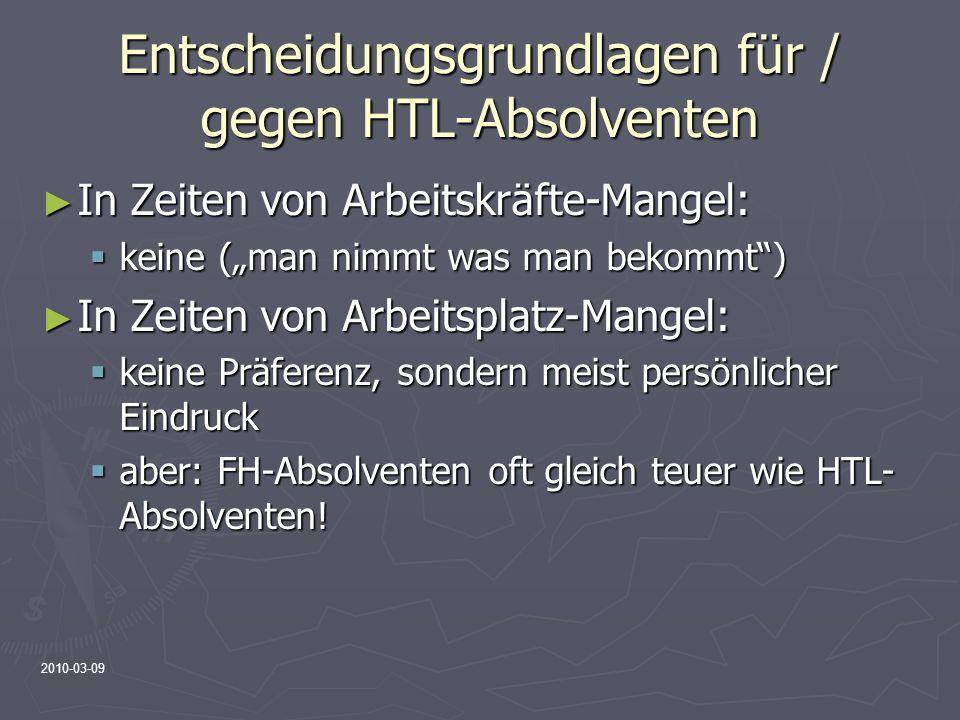 2010-03-09 Entscheidungsgrundlagen für / gegen HTL-Absolventen In Zeiten von Arbeitskräfte-Mangel: In Zeiten von Arbeitskräfte-Mangel: keine (man nimm