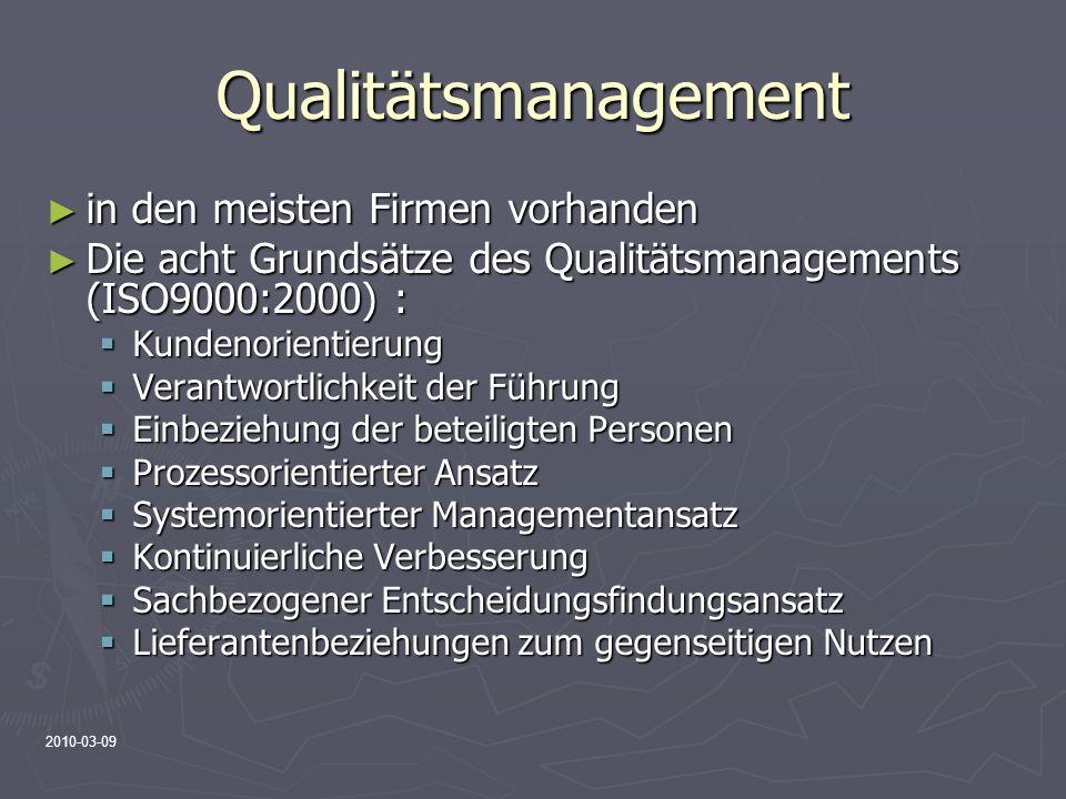 2010-03-09 Qualitätsmanagement in den meisten Firmen vorhanden in den meisten Firmen vorhanden Die acht Grundsätze des Qualitätsmanagements (ISO9000:2