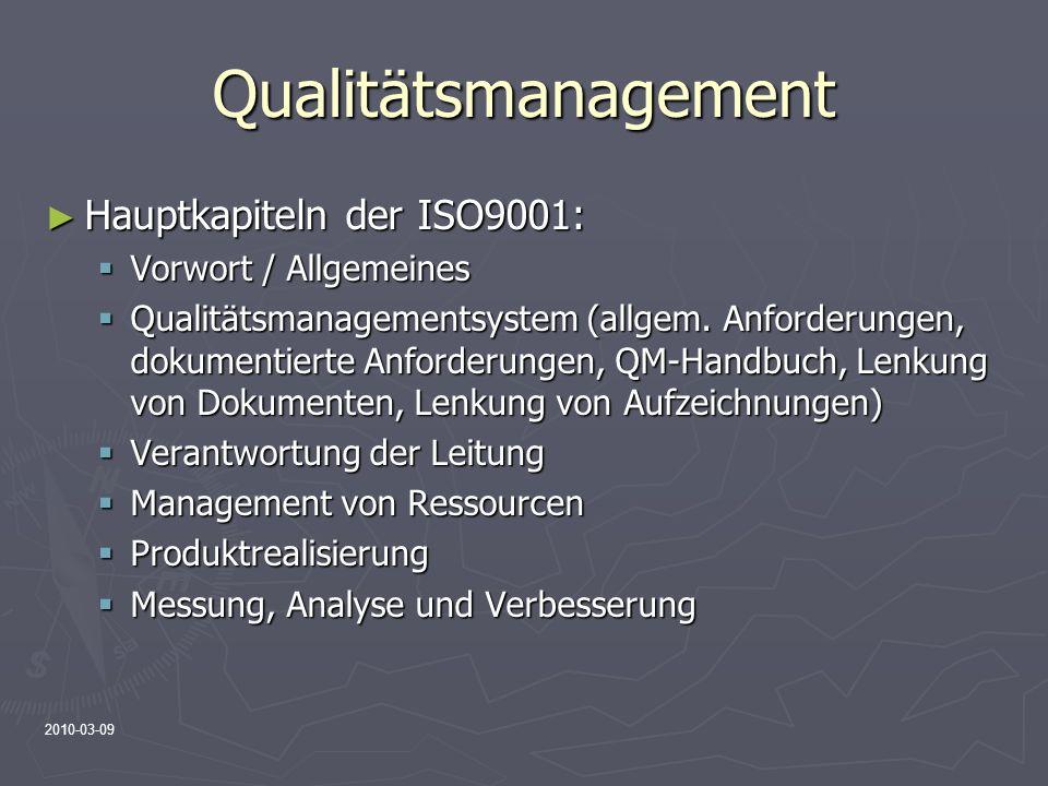 2010-03-09 Qualitätsmanagement Hauptkapiteln der ISO9001: Hauptkapiteln der ISO9001: Vorwort / Allgemeines Vorwort / Allgemeines Qualitätsmanagementsy