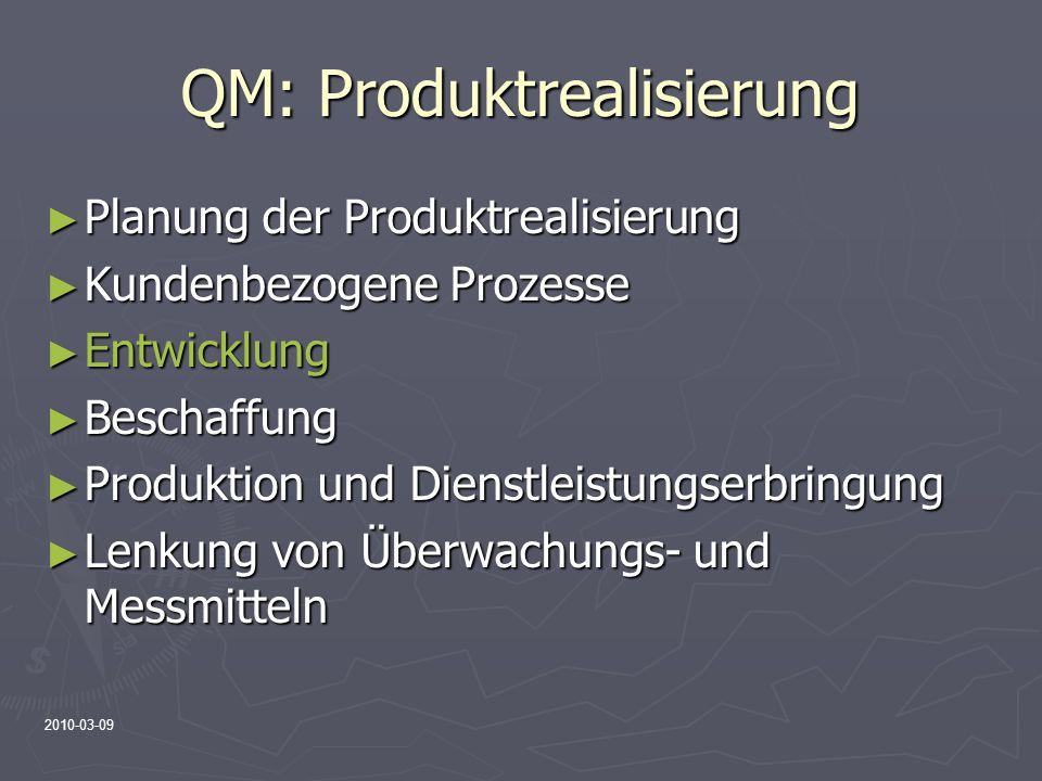 2010-03-09 QM: Produktrealisierung Planung der Produktrealisierung Planung der Produktrealisierung Kundenbezogene Prozesse Kundenbezogene Prozesse Ent