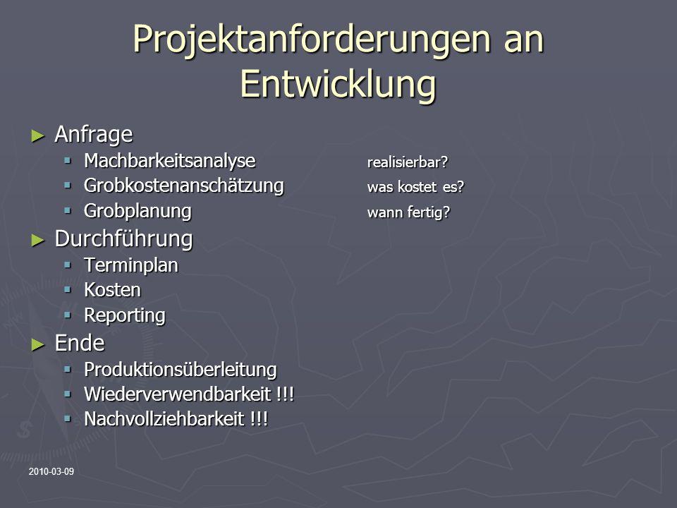 2010-03-09 Projektanforderungen an Entwicklung Anfrage Anfrage Machbarkeitsanalyse realisierbar? Machbarkeitsanalyse realisierbar? Grobkostenanschätzu