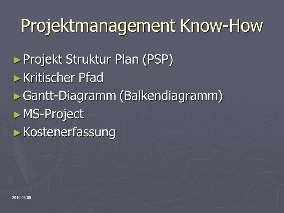 2010-03-09 Projektmanagement Know-How Projekt Struktur Plan (PSP) Projekt Struktur Plan (PSP) Kritischer Pfad Kritischer Pfad Gantt-Diagramm (Balkendi