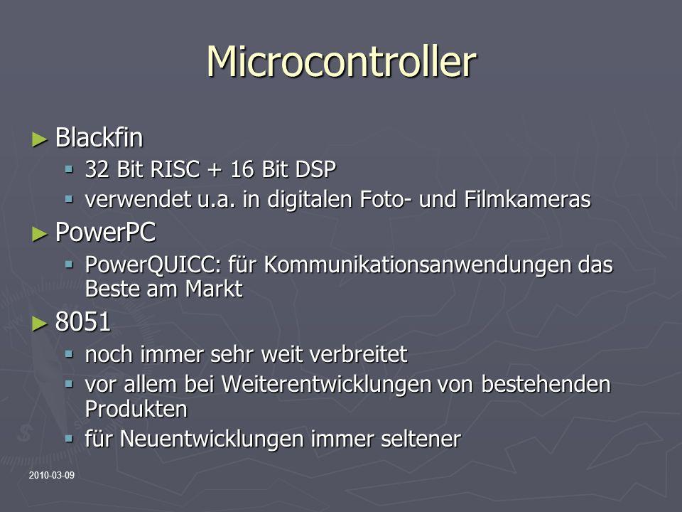 2010-03-09 Microcontroller Blackfin Blackfin 32 Bit RISC + 16 Bit DSP 32 Bit RISC + 16 Bit DSP verwendet u.a. in digitalen Foto- und Filmkameras verwe