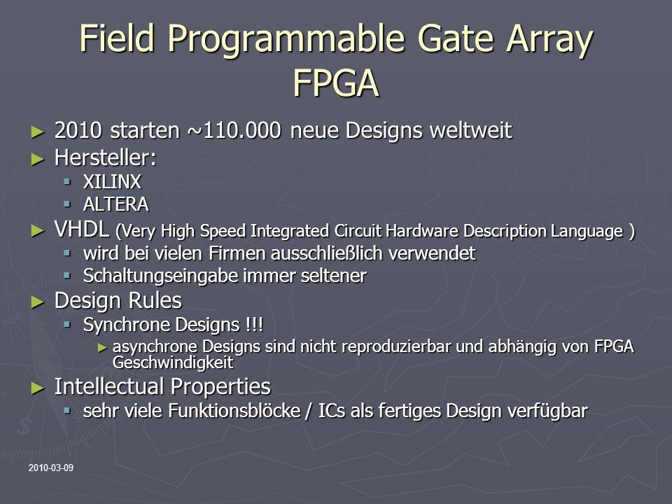2010-03-09 Field Programmable Gate Array FPGA 2010 starten ~110.000 neue Designs weltweit 2010 starten ~110.000 neue Designs weltweit Hersteller: Hers