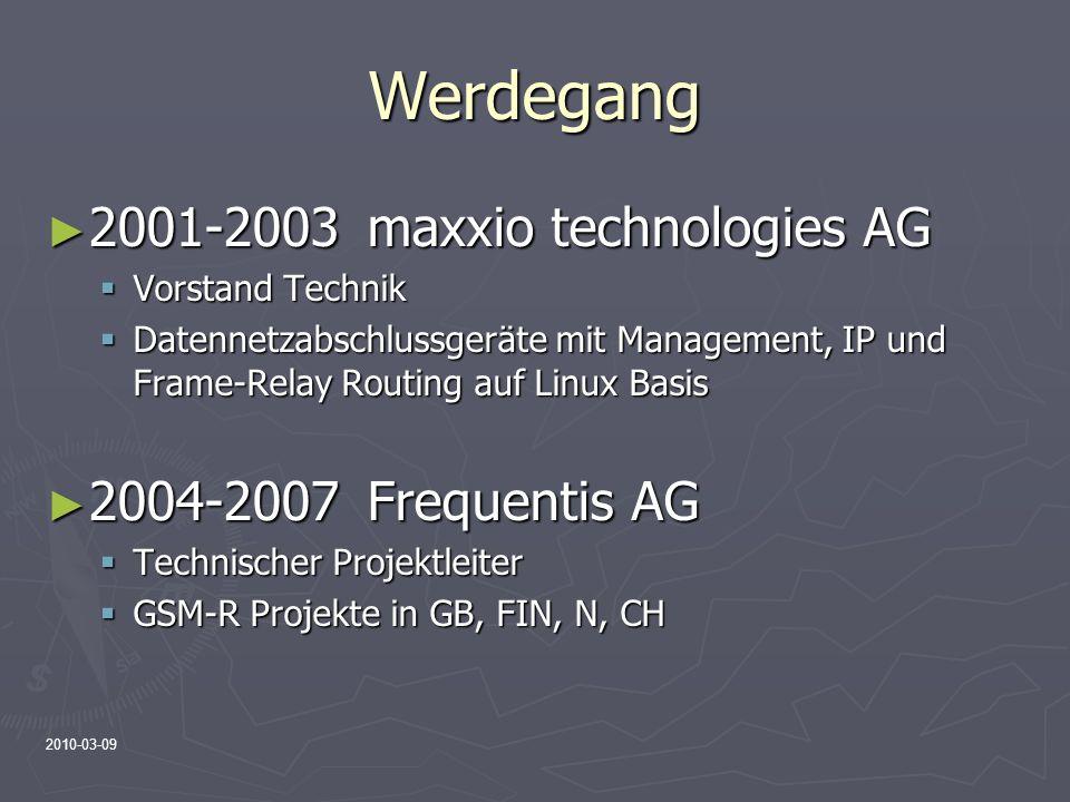 2010-03-09 Werdegang 2001-2003maxxio technologies AG 2001-2003maxxio technologies AG Vorstand Technik Vorstand Technik Datennetzabschlussgeräte mit Ma