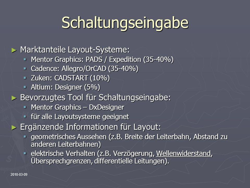 2010-03-09 Schaltungseingabe Marktanteile Layout-Systeme: Marktanteile Layout-Systeme: Mentor Graphics: PADS / Expedition (35-40%) Mentor Graphics: PA