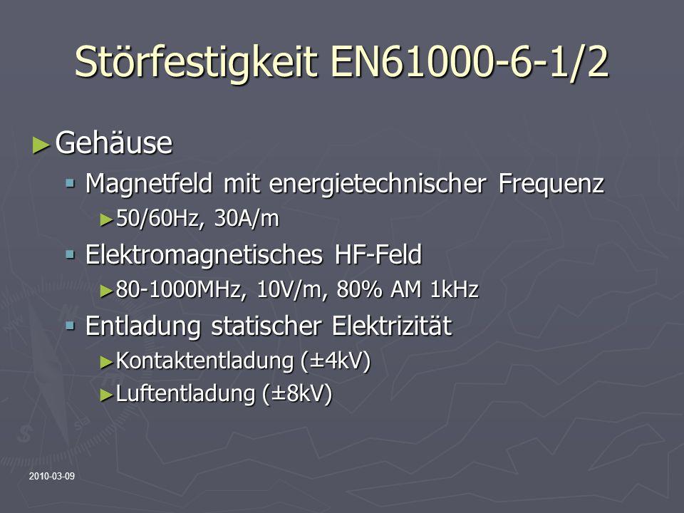 2010-03-09 Störfestigkeit EN61000-6-1/2 Gehäuse Gehäuse Magnetfeld mit energietechnischer Frequenz Magnetfeld mit energietechnischer Frequenz 50/60Hz,