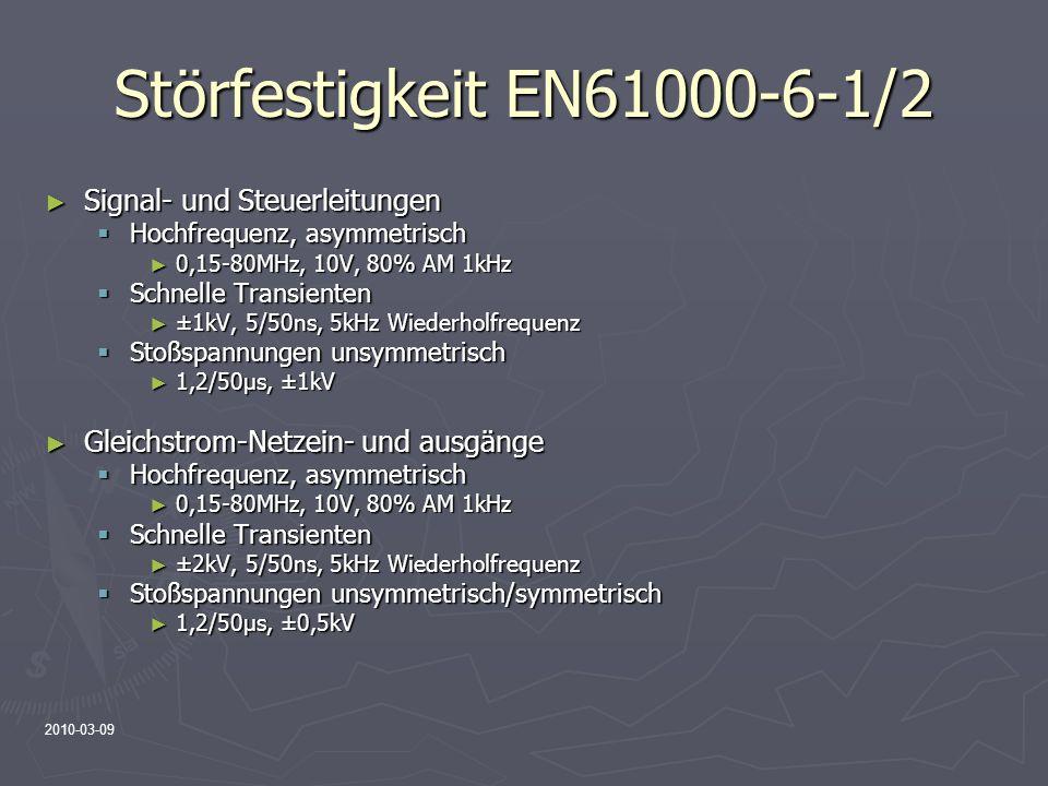 2010-03-09 Störfestigkeit EN61000-6-1/2 Signal- und Steuerleitungen Signal- und Steuerleitungen Hochfrequenz, asymmetrisch Hochfrequenz, asymmetrisch