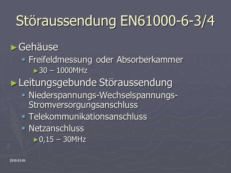 2010-03-09 Störaussendung EN61000-6-3/4 Gehäuse Gehäuse Freifeldmessung oder Absorberkammer Freifeldmessung oder Absorberkammer 30 – 1000MHz 30 – 1000