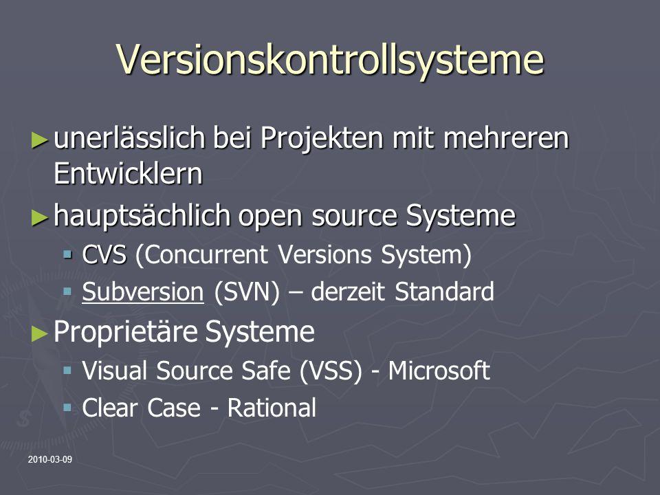 2010-03-09 Versionskontrollsysteme unerlässlich bei Projekten mit mehreren Entwicklern unerlässlich bei Projekten mit mehreren Entwicklern hauptsächli