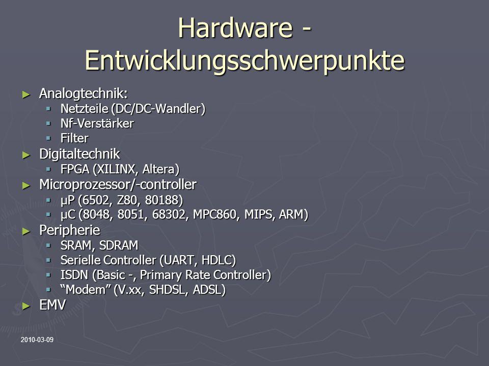 2010-03-09 Hardware - Entwicklungsschwerpunkte Analogtechnik: Analogtechnik: Netzteile (DC/DC-Wandler) Netzteile (DC/DC-Wandler) Nf-Verstärker Nf-Vers