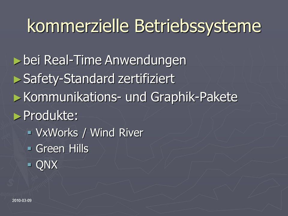 2010-03-09 kommerzielle Betriebssysteme bei Real-Time Anwendungen bei Real-Time Anwendungen Safety-Standard zertifiziert Safety-Standard zertifiziert
