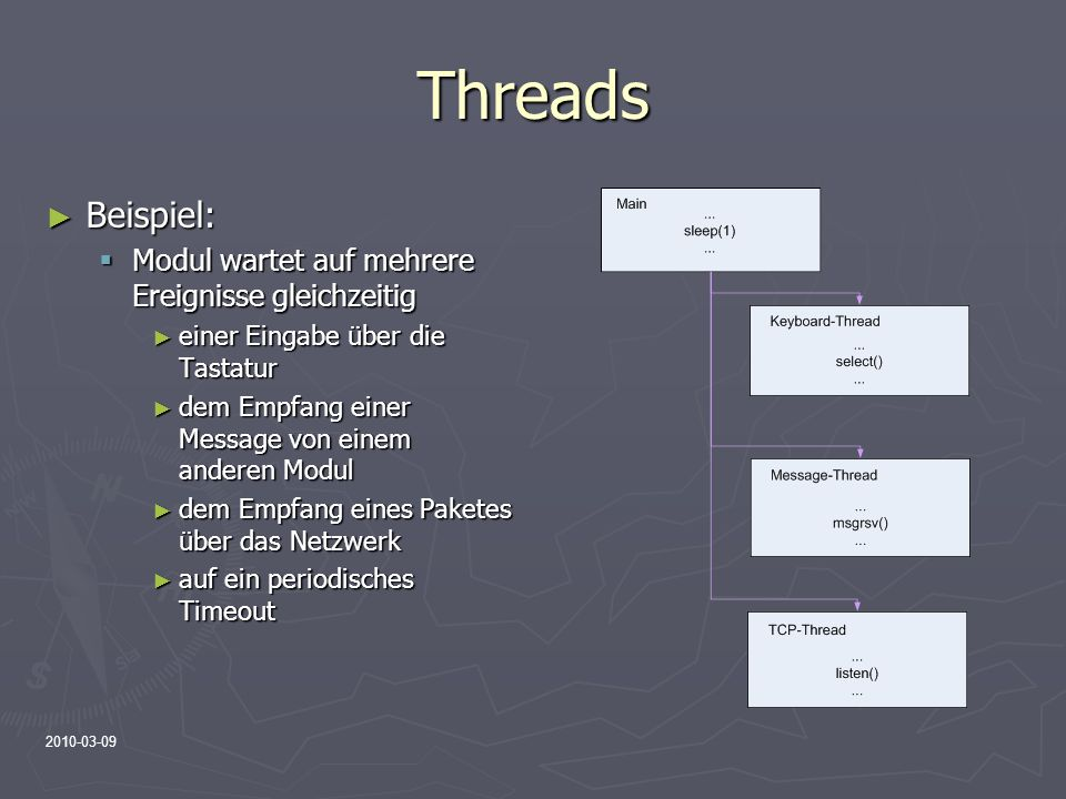2010-03-09 Threads Beispiel: Beispiel: Modul wartet auf mehrere Ereignisse gleichzeitig Modul wartet auf mehrere Ereignisse gleichzeitig einer Eingabe