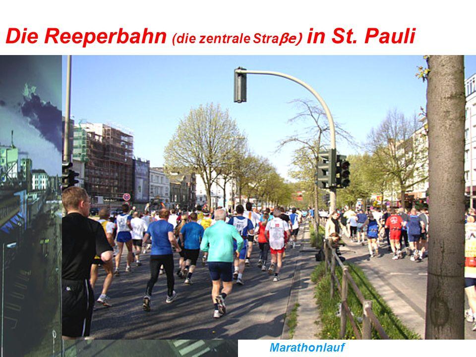 Die Reeperbahn (die zentrale Stra βe) in St. Pauli Sie ist die zentrale Straβe im Hamburger Vergnügungsviertel St. Pauli. Sie ist 930 Meter lang. Sehe