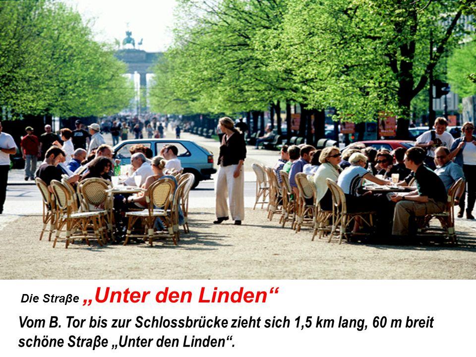 Die Straβe Unter den Linden Vom B. Tor bis zur Schlossbrücke zieht sich 1,5 km lang, 60 m breit schöne Straβe Unter den Linden.